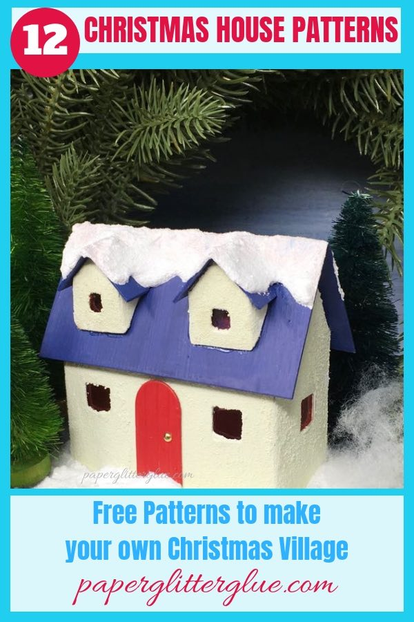 Make this cute little Winter Cottage with its red door and snowy roofline for your Christmas village