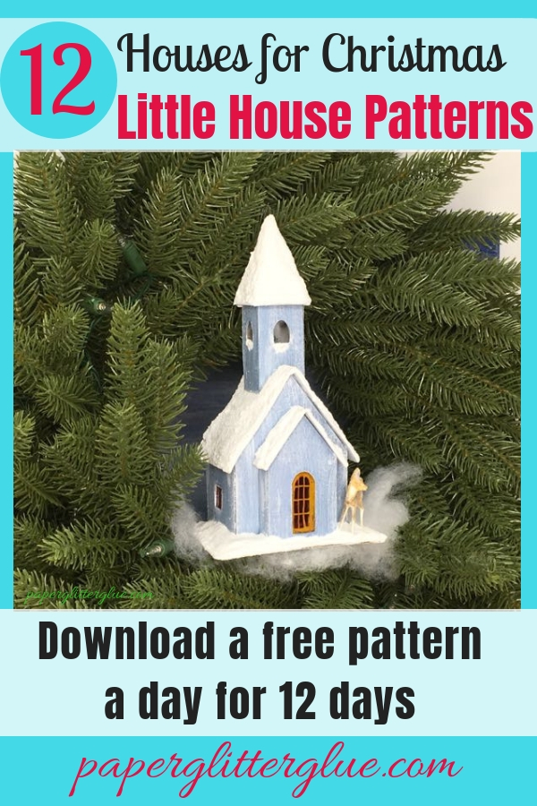 Little blue church with a glittered snowy roof and steeple for your Christmas village