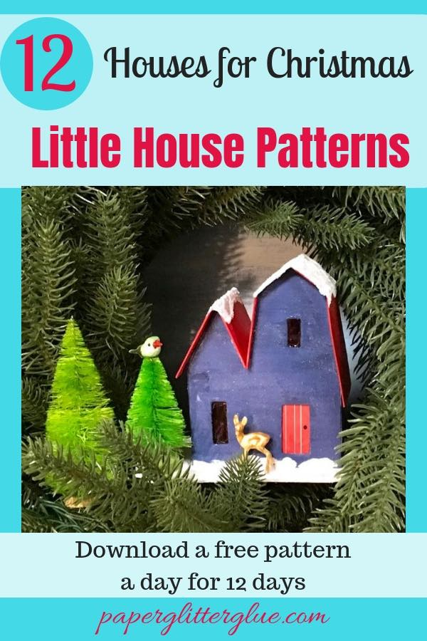 12 Houses for Christmas paper house pattern