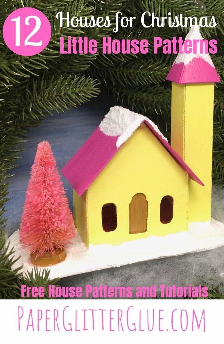 12 Houses for Christmas paper houses-Side steeple church