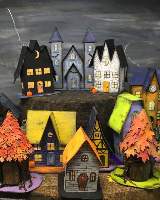 13 Days of Halloween Paper Houses #halloweenvillage #halloweendecor #diyhalloween