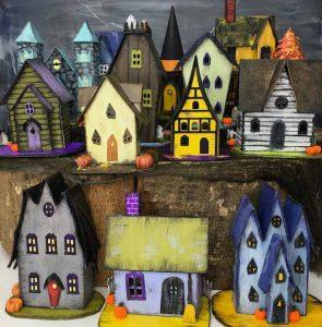 13 Handcrafted Halloween houses on display