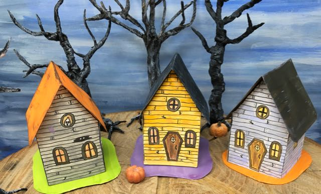 Halloween paper houses for 13 Days of Halloween