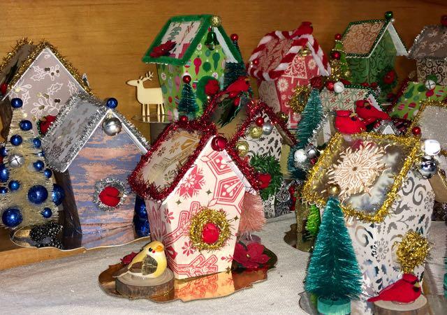 Christmas Birdhouses.Christmas Birdhouse Ornaments Paper Glitter Glue