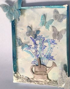 Frosted Butterflies Mixed Media piece