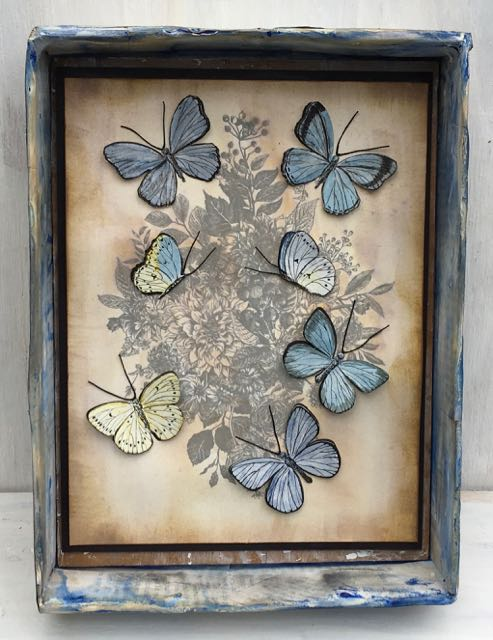 Vintage print butterfly project