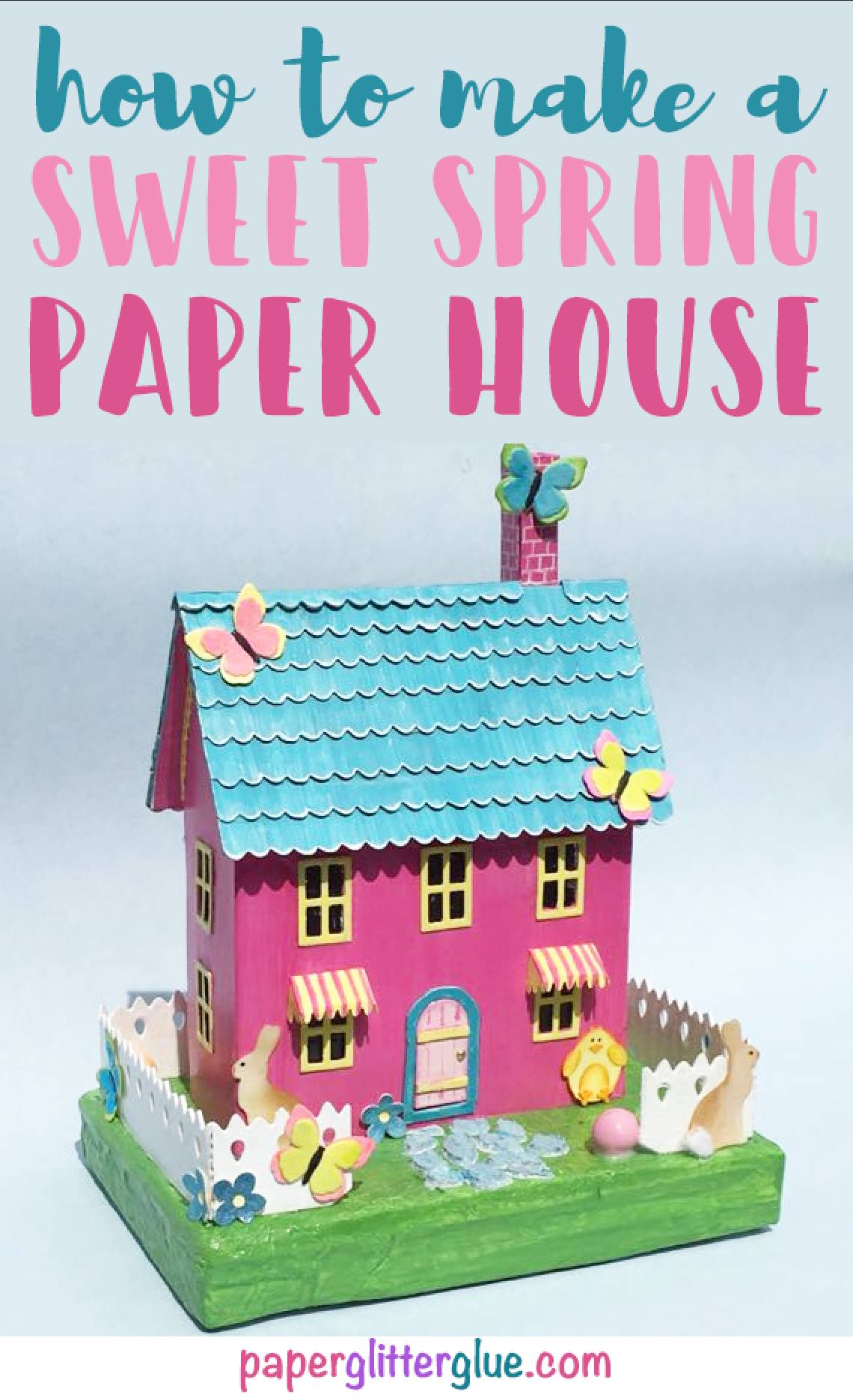 how to make a sweet spring paper house, instructions, DIY #putz house #paper house #timholtz