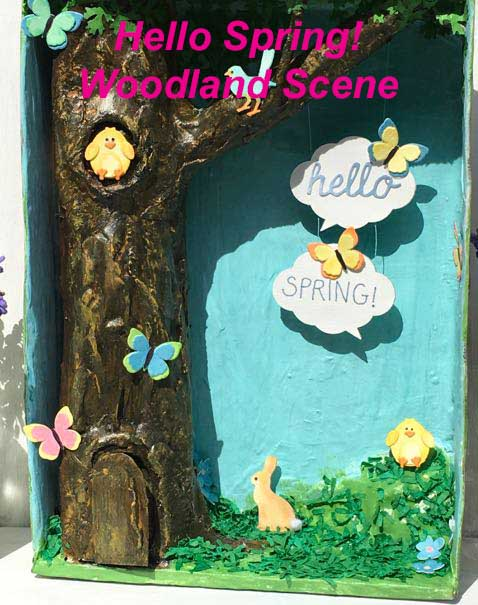 Cardboard mixed media Hello Spring! Woodland Scene