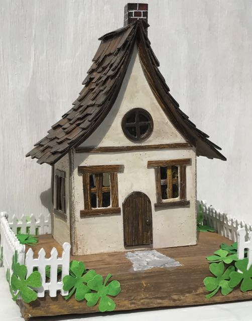 Irish Cottage Little Cardboard House for St. Patrick's Day