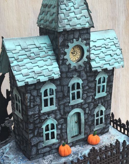 Stone Stencil Clock House paper house for Halloween #putzhouse #halloweenhouse #halloween #papercraft