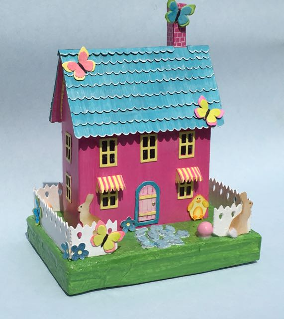 Easter house putz house pastel colors bunnies and butterflies