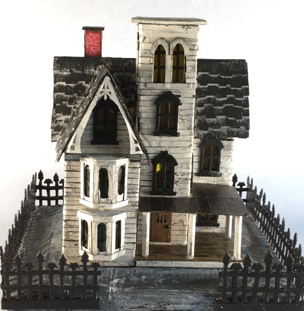 Abandoned Italianate Mansion Halloween House based on Knox House in PA #halloweenhouse #halloween #papercraft #putzhouse