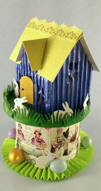 Tim Holtz Village Dwelling Easter House with corrugated cardboard siding
