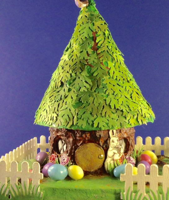 Easter Tree House with Bunnies and eggs