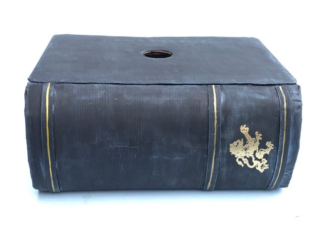 Finished upcycled book box with drawer, cover detailing