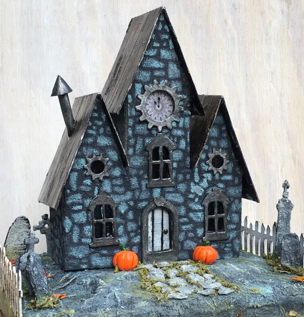 Jeremiah's Stone House Halloween House #halloweenhouse #halloweenvillge #putzhouse #papercraft
