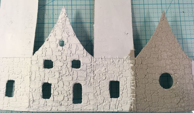Stenciled Irish Cottage paper house with stone texture surface #papercraft #putzhouse