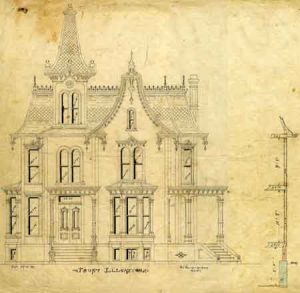 Architectural drawings of the Beverly Davenport house. Original plans for the Beverly Davenport house in Saline, Michigan. Notice the tall skinny tower in the front on the architectural drawing. That was omitted for this house.