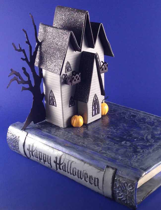 Tiny Halloween Paper House with 3 gables on the roof