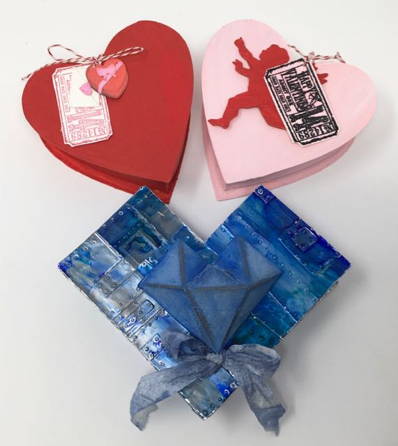 3 heart-shaped candy boxes