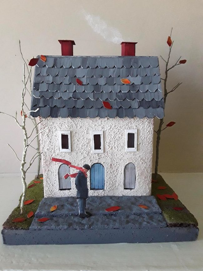 A Windy Day Miniature Plaster House by Winnie