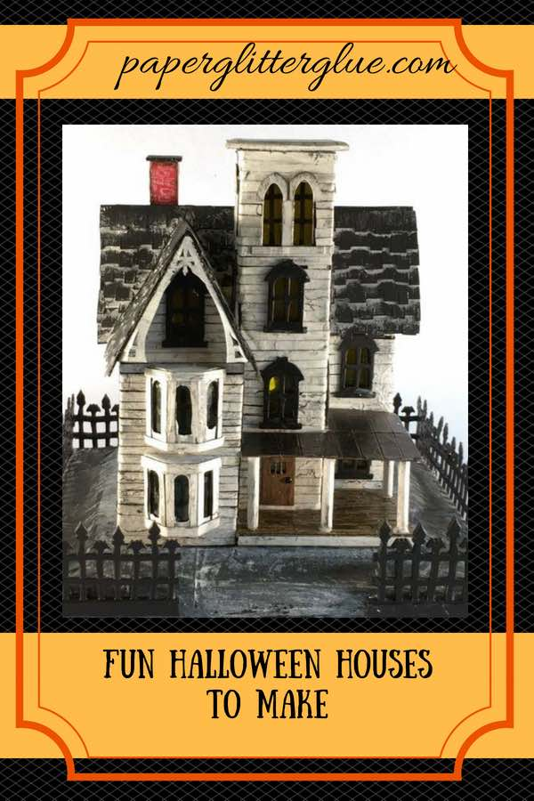 Make your own Halloween house like the Abandoned Italianate Mansion #halloweenhouse #halloween #putzhouse #papercraft