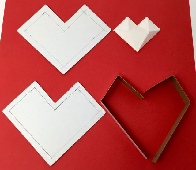 Abstract heart candy box pieces