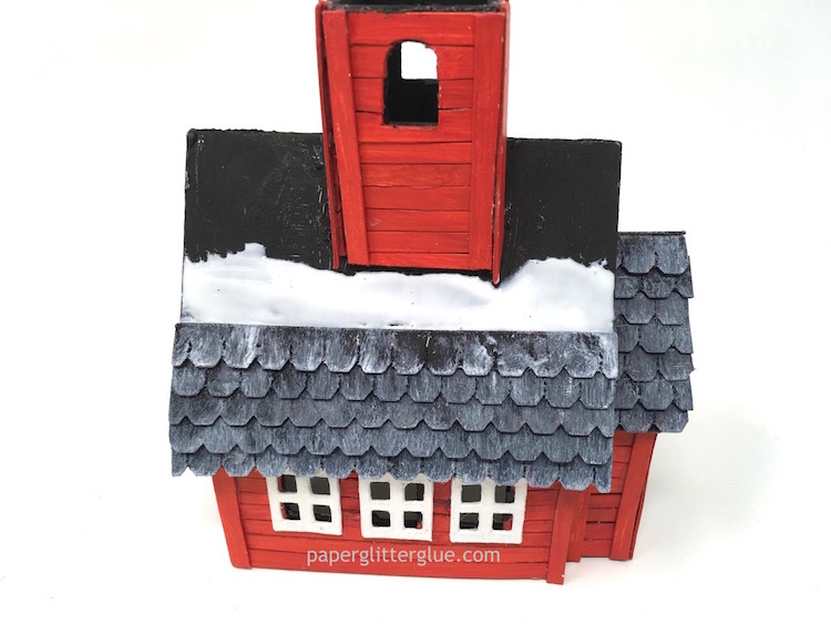 Adding shingles little red schoolhouse paperglitterglue