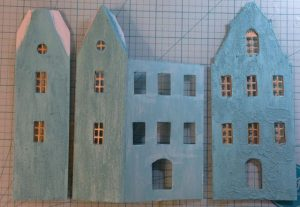 Amsterdam Canal Putz house in progress, made with cardboard and sanded paint.