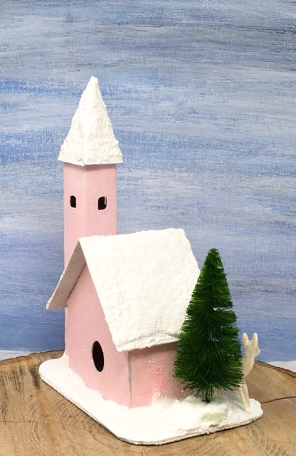 Spun Sugar Church little cardboard house instructions for your Christmas village