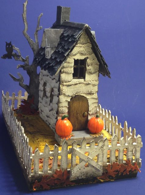 Halloween Village Brownstone Paper house or Halloween Putz house