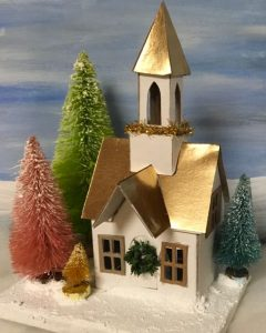 Elegant gold roof Putz church with gold steeple