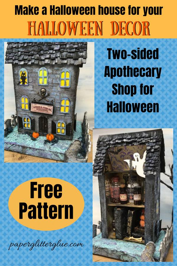 Apothecary Halloween House paper house made with potions shop on back