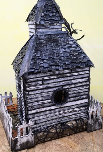 Back view Haunted Schoolhouse Putz house #putzhouse #halloweendecor #papercraft
