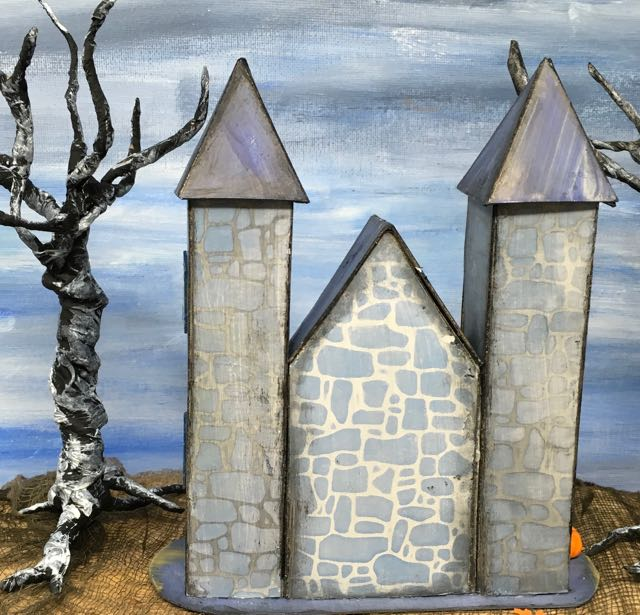 Back view 13 Days of Halloween castle #halloweenvillage #halloweencrafts #diyhalloween