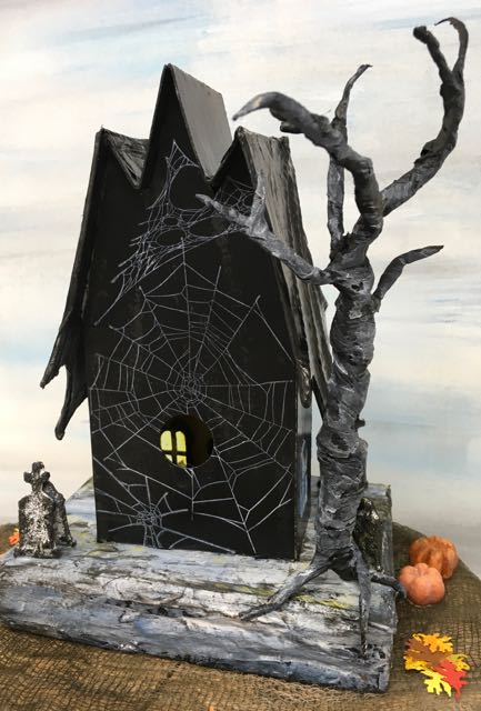 Back angled Bat Wing Halloween House with the tangled web stamping and a twisted tree