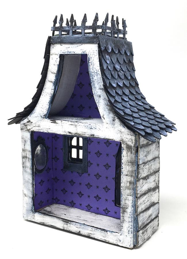 Back of miniature Halloween house