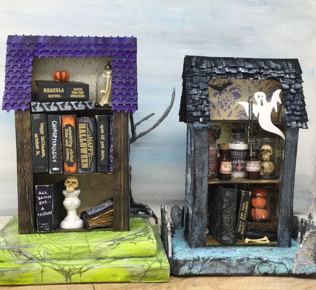View of the back of the two miniature Halloween houses #putzhouse #halloweenhouse #papercraft #paperpattern
