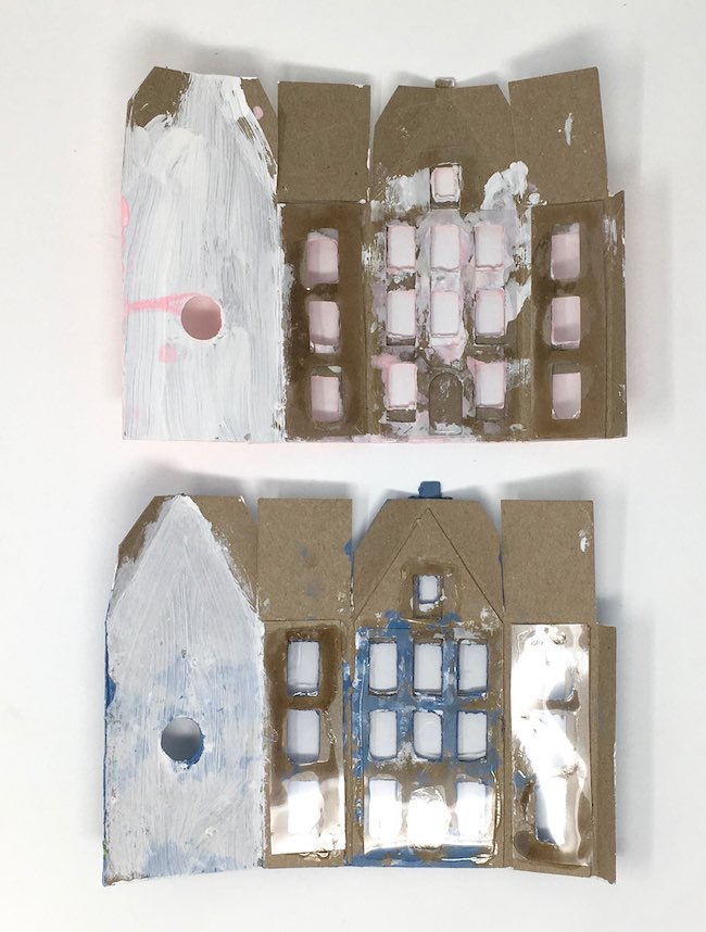 Back view of Amsterdam canal paper houses window acetate glued on