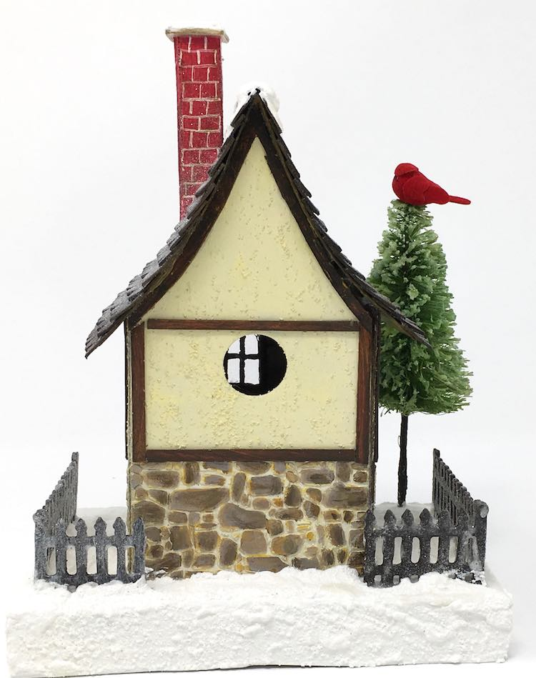 Back view of the German Half timbered paper Christmas house