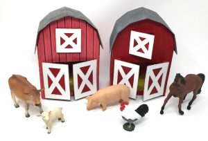 Barns made from recycled boxes for kids