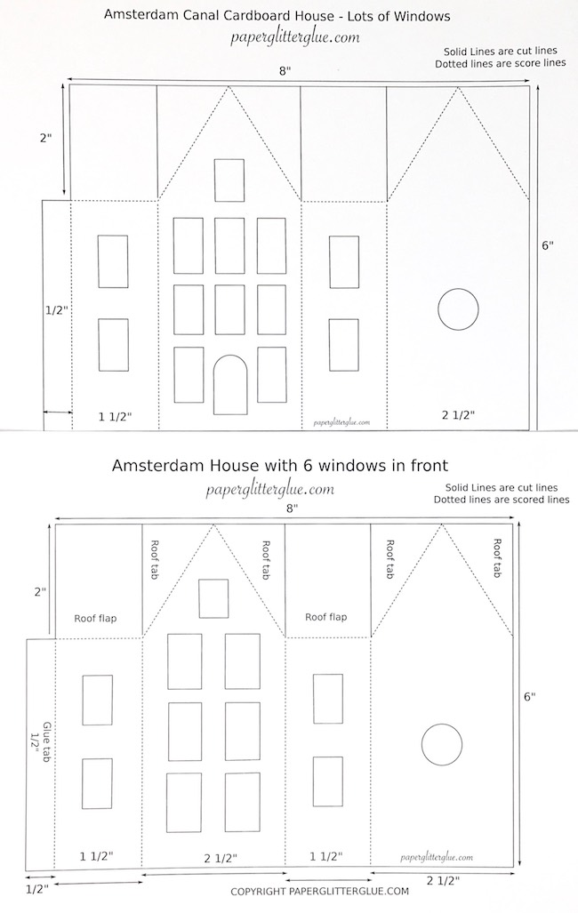 Base patterns to make the Amsterdam Canal Paper Houses