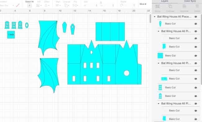 Bat Wing House pattern in Cricut's Design Space