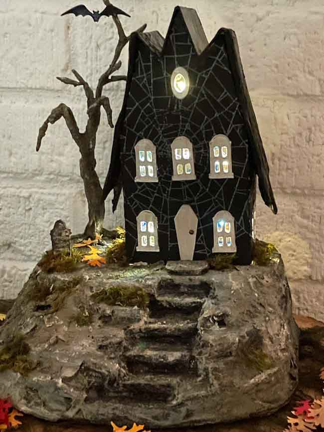 Bat Wing House with Tiny Lights on