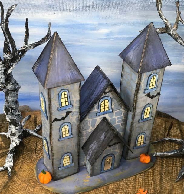 Bat's Eye view 13 Days of Halloween castle #halloweenvillage #halloweencrafts #diyhalloween