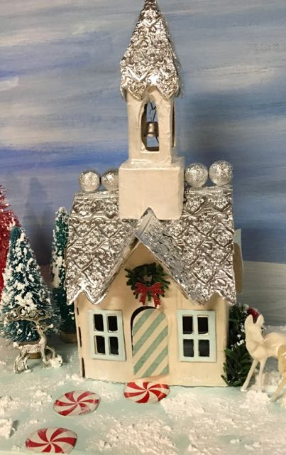 Beautiful Putz church made with the Sizzix impresslit dies