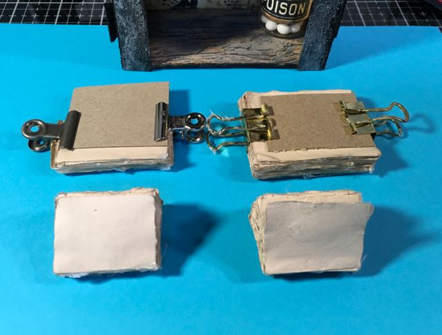 Binder clips to hold book pages together for gluing spine miniature book #papercraft #halloweenbook