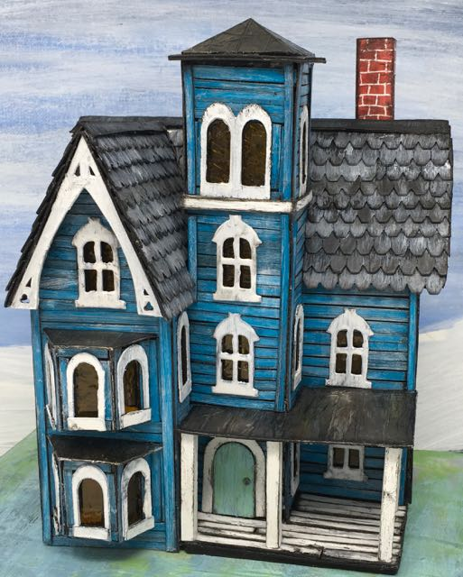Faded Mansion Putz House on colored cardboard base