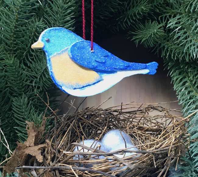 Glittery Bluebird Ornament made from cardboard and paint