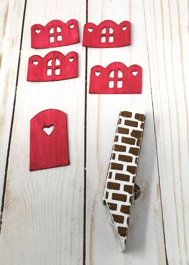 Brick stencil cardboard chimney